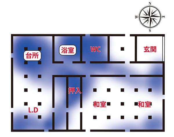 (図1)湿気が滞留しやすい場所のイメージ図