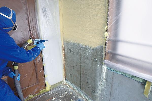 マンションの壁断熱(コンクリート吹付)